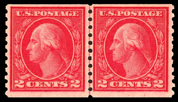 Prices of US Stamps Scott 455 - 2c 1915 Washington Coil Perf 10 Vertically. Daniel Kelleher Auctions, Dec 2012, Sale 633, Lot 808