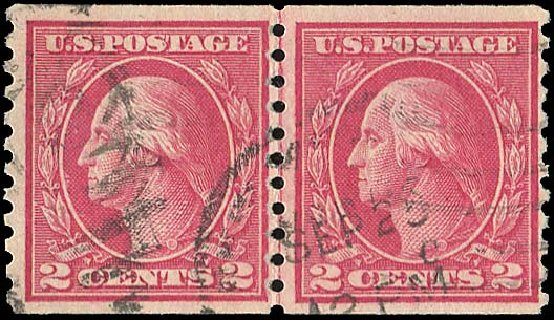 Costs of US Stamps Scott Cat. 455: 1915 2c Washington Coil Perf 10 Vertically. Regency-Superior, Jan 2015, Sale 109, Lot 1251