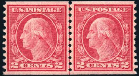 Costs of US Stamp Scott Catalog # 455: 1915 2c Washington Coil Perf 10 Vertically. Harmer-Schau Auction Galleries, Mar 2011, Sale 89, Lot 334