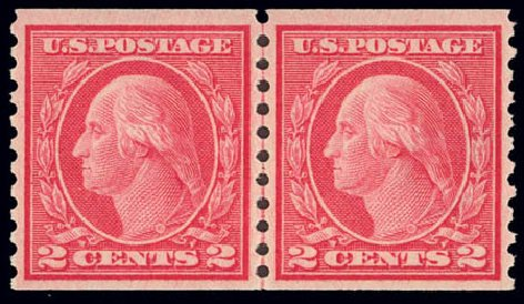 Price of US Stamps Scott Catalogue 455: 2c 1915 Washington Coil Perf 10 Vertically. Daniel Kelleher Auctions, Feb 2013, Sale 634, Lot 284