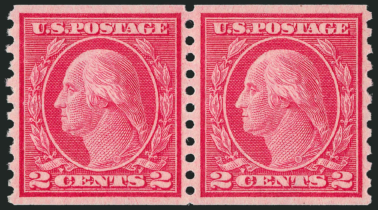 US Stamps Values Scott Catalog # 455: 1915 2c Washington Coil Perf 10 Vertically. Robert Siegel Auction Galleries, Jul 2014, Sale 1077, Lot 274