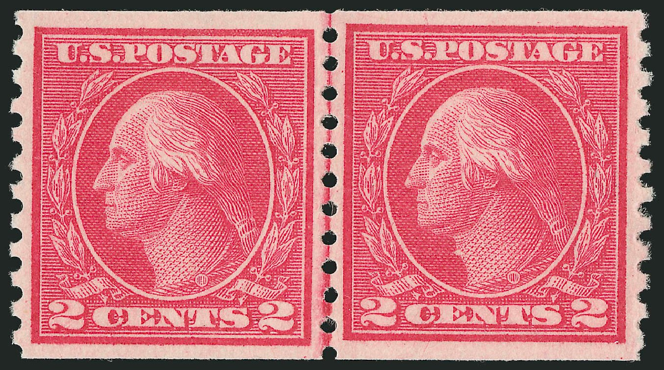 US Stamp Prices Scott Cat. # 455: 1915 2c Washington Coil Perf 10 Vertically. Robert Siegel Auction Galleries, Nov 2012, Sale 1034, Lot 423