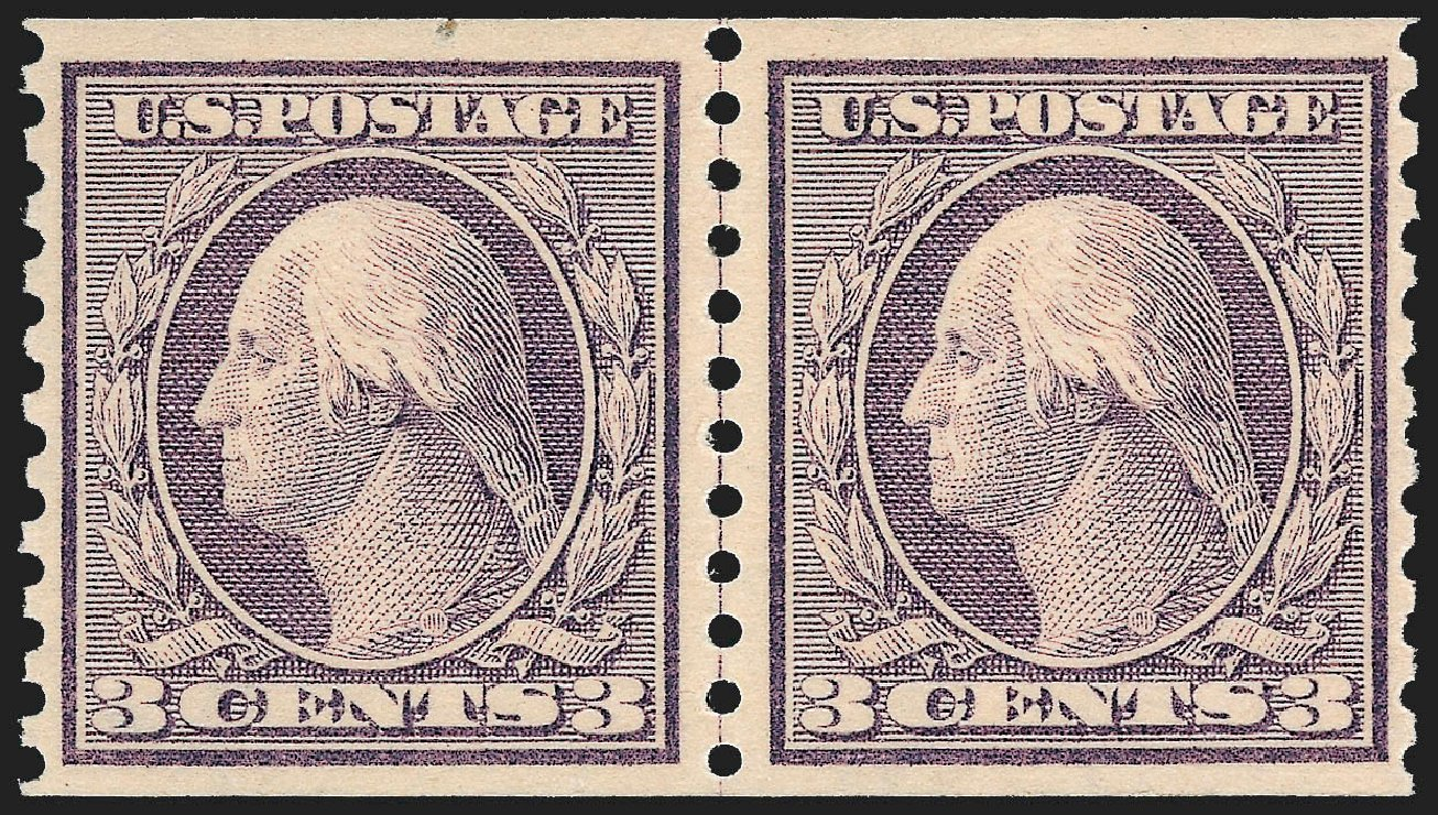 US Stamps Value Scott Catalogue # 456: 1916 3c Washington Coil Perf 10 Vertically. Robert Siegel Auction Galleries, Jul 2015, Sale 1107, Lot 477