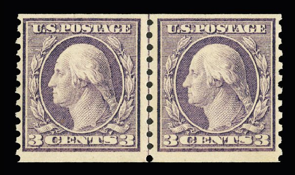 US Stamps Prices Scott Catalogue # 456 - 3c 1916 Washington Coil Perf 10 Vertically. Cherrystone Auctions, Jul 2015, Sale 201507, Lot 2158