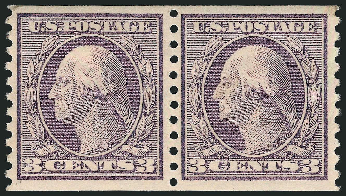 US Stamp Values Scott Catalog # 456 - 3c 1916 Washington Coil Perf 10 Vertically. Robert Siegel Auction Galleries, Jul 2015, Sale 1107, Lot 478