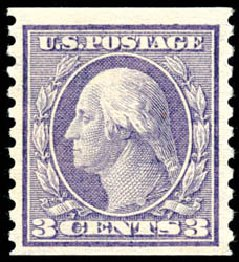 Cost of US Stamps Scott Catalogue # 456: 3c 1916 Washington Coil Perf 10 Vertically. Schuyler J. Rumsey Philatelic Auctions, Apr 2015, Sale 60, Lot 2399