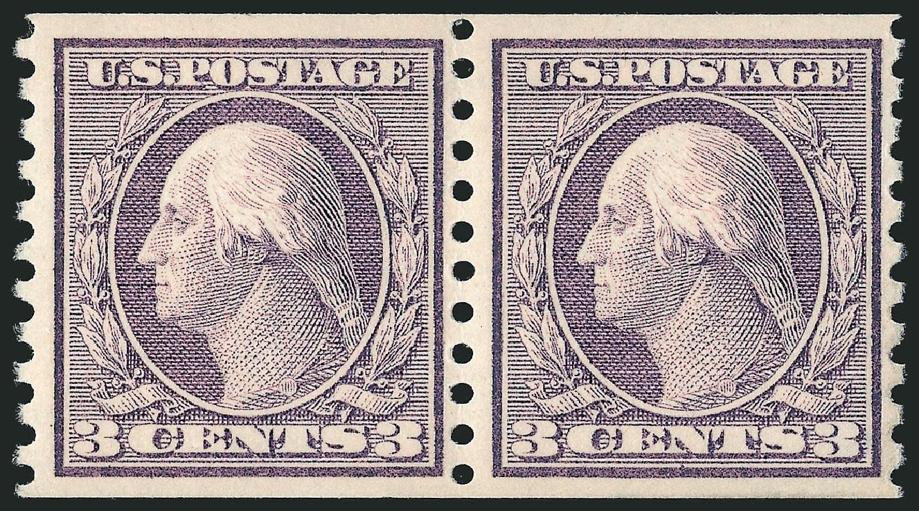 Price of US Stamp Scott Catalog 456 - 3c 1916 Washington Coil Perf 10 Vertically. Robert Siegel Auction Galleries, Apr 2015, Sale 1096, Lot 699