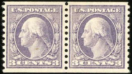 US Stamps Value Scott Cat. 456: 3c 1916 Washington Coil Perf 10 Vertically. Spink Shreves Galleries, Jul 2015, Sale 151, Lot 303
