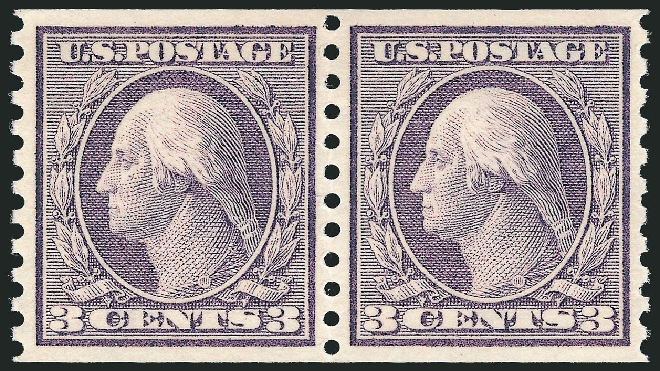 US Stamp Value Scott Catalog 456: 3c 1916 Washington Coil Perf 10 Vertically. Robert Siegel Auction Galleries, Jun 2015, Sale 1106, Lot 3156