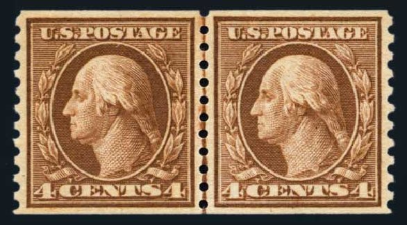 Costs of US Stamps Scott Catalogue 457: 1915 4c Washington Coil Perf 10 Vertically. Harmer-Schau Auction Galleries, Aug 2014, Sale 102, Lot 2028