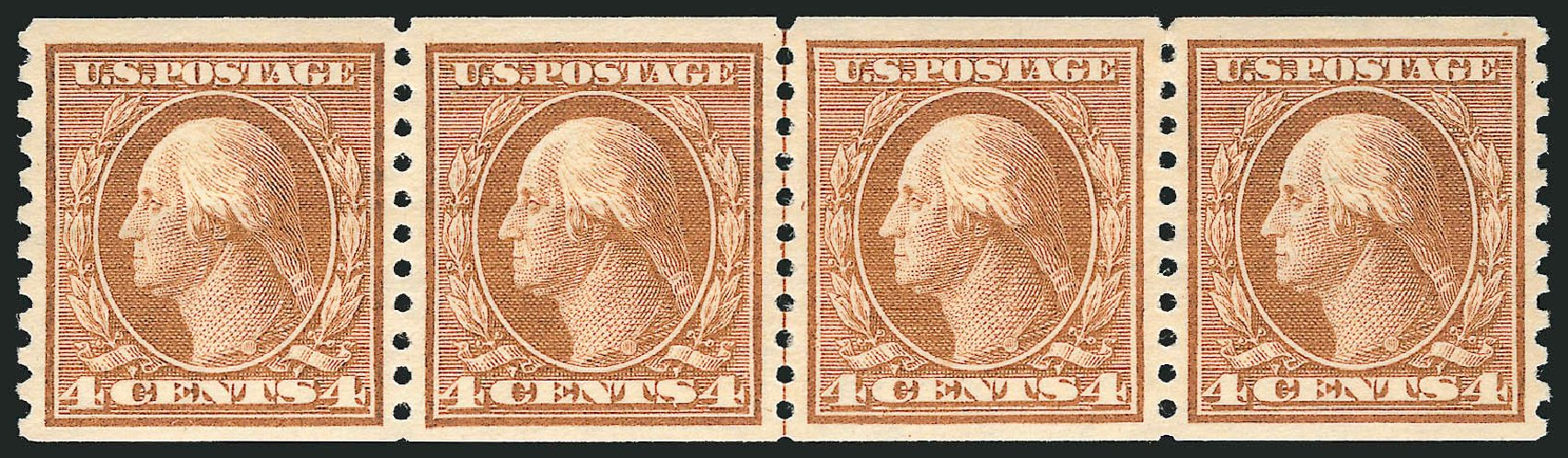 Costs of US Stamp Scott Cat. # 457: 1915 4c Washington Coil Perf 10 Vertically. Robert Siegel Auction Galleries, Feb 2015, Sale 1093, Lot 368