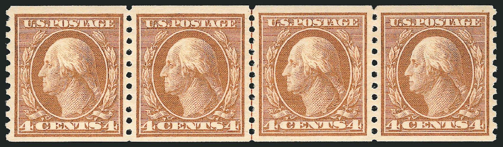 Costs of US Stamp Scott Cat. # 457: 1915 4c Washington Coil Perf 10 Vertically. Robert Siegel Auction Galleries, Feb 2015, Sale 1093, Lot 368