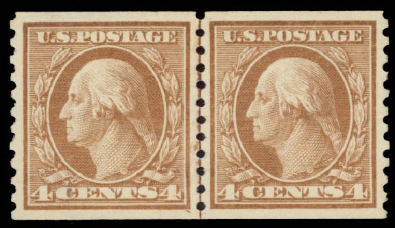 Values of US Stamp Scott Cat. # 457 - 4c 1915 Washington Coil Perf 10 Vertically. Daniel Kelleher Auctions, May 2015, Sale 669, Lot 3040