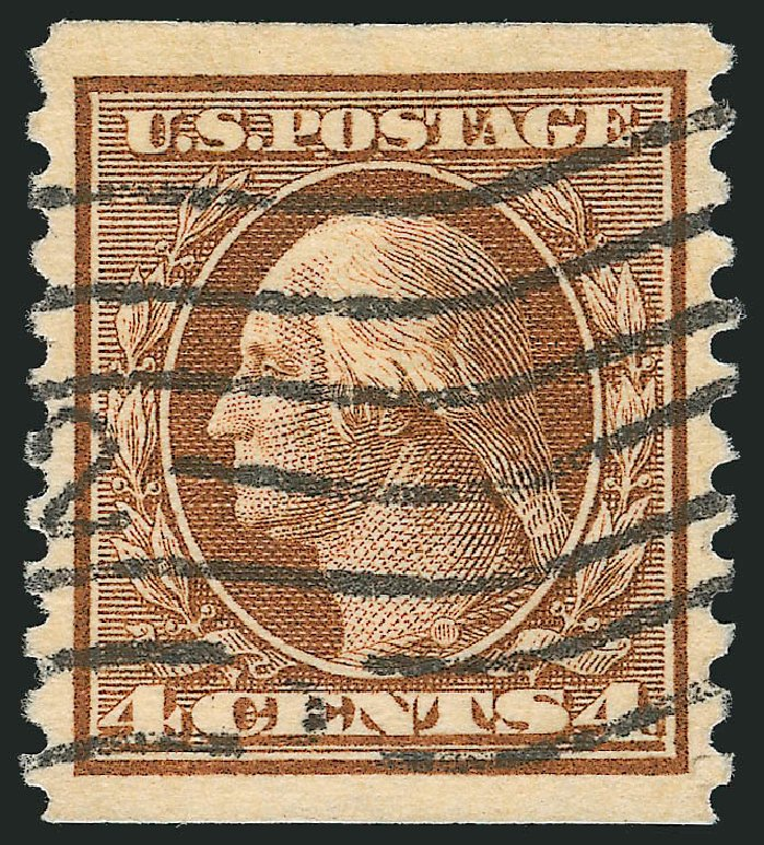 US Stamp Prices Scott Cat. #457 - 4c 1915 Washington Coil Perf 10 Vertically. Robert Siegel Auction Galleries, Sep 2014, Sale 1078, Lot 540