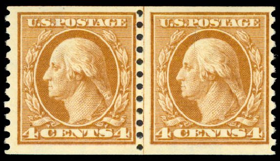 Value of US Stamps Scott Catalog # 457: 1915 4c Washington Coil Perf 10 Vertically. Daniel Kelleher Auctions, May 2015, Sale 669, Lot 3041