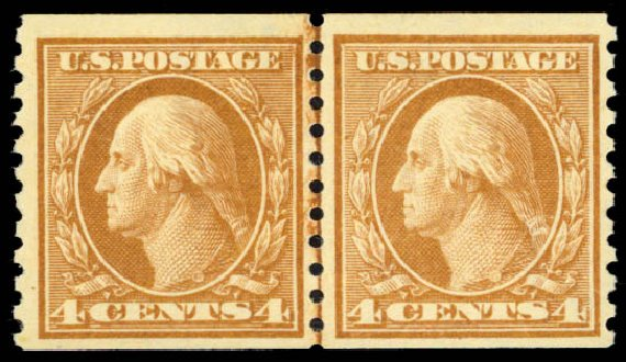 US Stamps Price Scott Catalog #457: 1915 4c Washington Coil Perf 10 Vertically. Daniel Kelleher Auctions, Jan 2015, Sale 663, Lot 1804