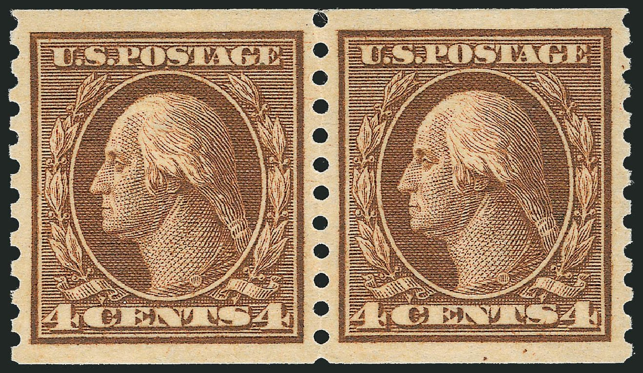 US Stamps Value Scott Catalogue # 457: 1915 4c Washington Coil Perf 10 Vertically. Robert Siegel Auction Galleries, Dec 2013, Sale 1062, Lot 654
