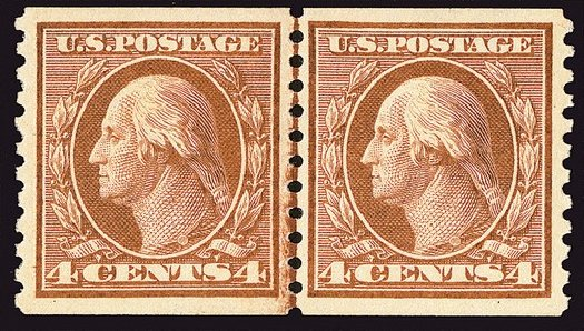 Cost of US Stamps Scott Catalogue 457 - 4c 1915 Washington Coil Perf 10 Vertically. Spink Shreves Galleries, Jan 2014, Sale 146, Lot 424