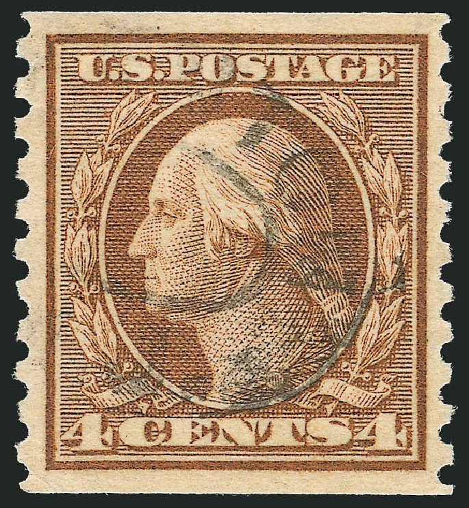 Prices of US Stamp Scott # 457: 1915 4c Washington Coil Perf 10 Vertically. Robert Siegel Auction Galleries, Jul 2014, Sale 1077, Lot 275