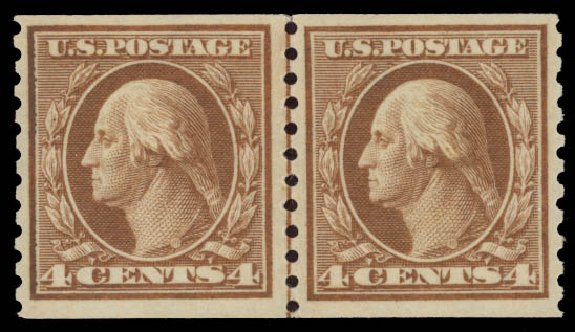 US Stamp Prices Scott Cat. #457 - 1915 4c Washington Coil Perf 10 Vertically. Daniel Kelleher Auctions, May 2015, Sale 669, Lot 3042