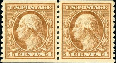 Values of US Stamp Scott Cat. # 457: 4c 1915 Washington Coil Perf 10 Vertically. Spink Shreves Galleries, Jan 2015, Sale 150, Lot 182