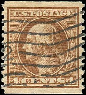 Prices of US Stamp Scott #457 - 1915 4c Washington Coil Perf 10 Vertically. Regency-Superior, Jan 2015, Sale 109, Lot 1253