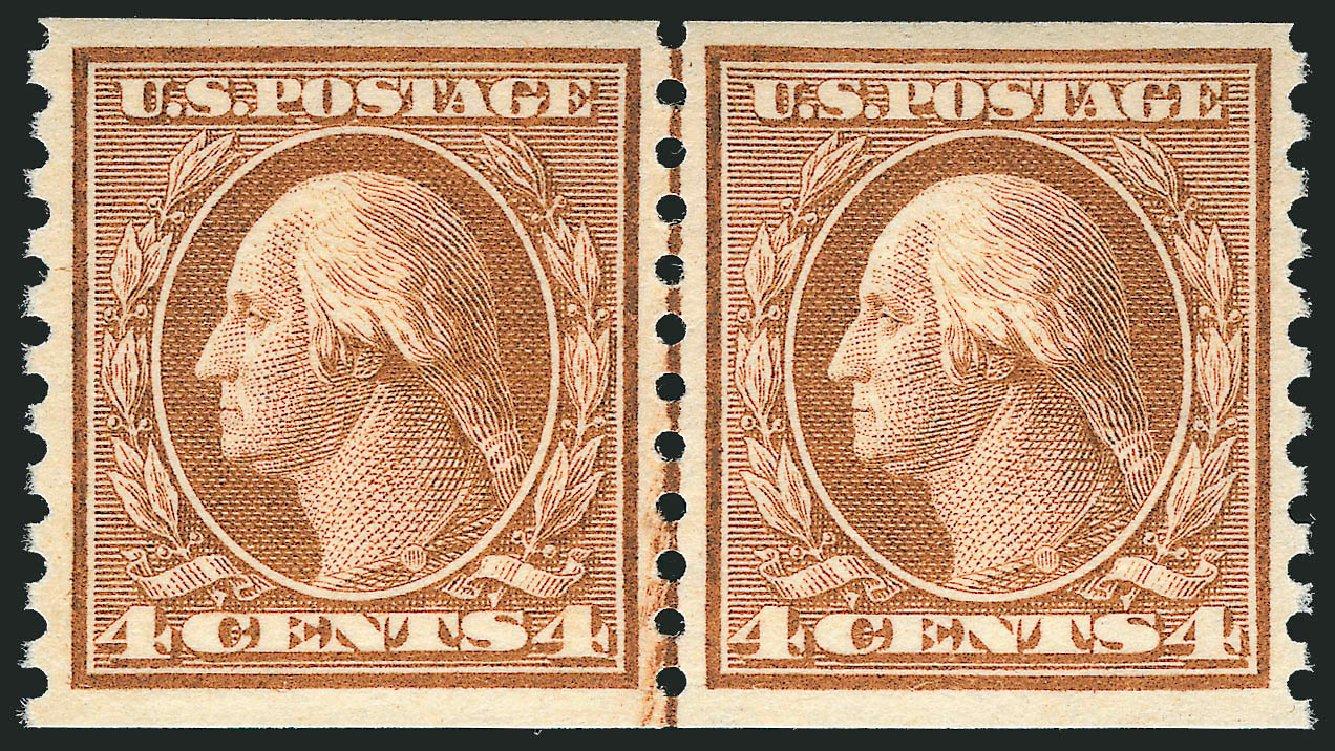 US Stamps Price Scott Catalog # 457 - 4c 1915 Washington Coil Perf 10 Vertically. Robert Siegel Auction Galleries, Dec 2013, Sale 1062, Lot 653