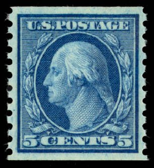 Value of US Stamp Scott Catalogue 458: 1915 5c Washington Coil Perf 10 Vertically. Daniel Kelleher Auctions, Oct 2014, Sale 660, Lot 2380