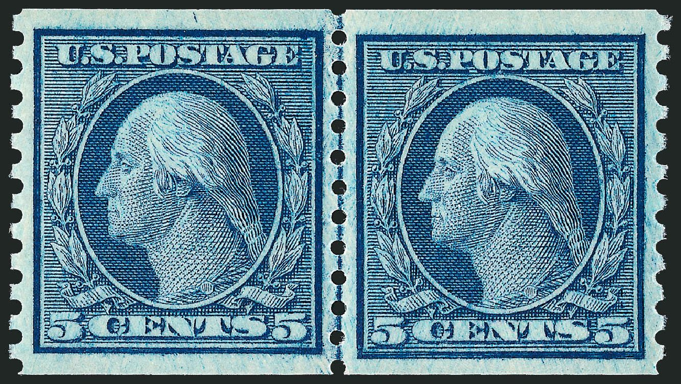 Price of US Stamps Scott Cat. # 458 - 5c 1915 Washington Coil Perf 10 Vertically. Robert Siegel Auction Galleries, Feb 2015, Sale 1093, Lot 370