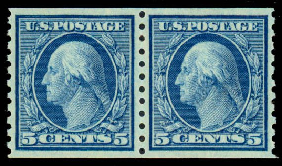 Costs of US Stamps Scott # 458 - 5c 1915 Washington Coil Perf 10 Vertically. Daniel Kelleher Auctions, Sep 2013, Sale 639, Lot 444