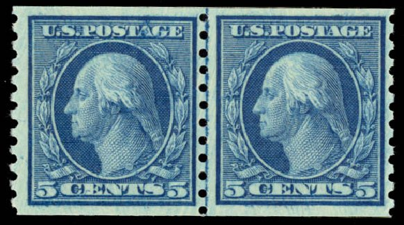 US Stamps Price Scott Cat. # 458 - 5c 1915 Washington Coil Perf 10 Vertically. Daniel Kelleher Auctions, Aug 2015, Sale 672, Lot 2744
