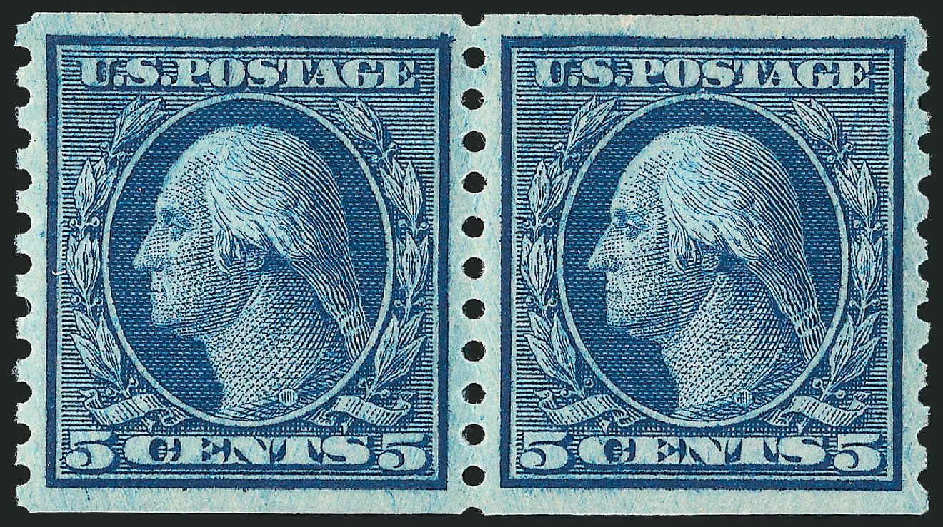 Price of US Stamp Scott Catalogue #458 - 1915 5c Washington Coil Perf 10 Vertically. Robert Siegel Auction Galleries, Mar 2014, Sale 1067, Lot 1544