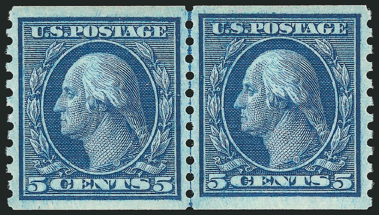 US Stamps Prices Scott Catalogue # 458: 1915 5c Washington Coil Perf 10 Vertically. Robert Siegel Auction Galleries, Dec 2013, Sale 1062, Lot 655