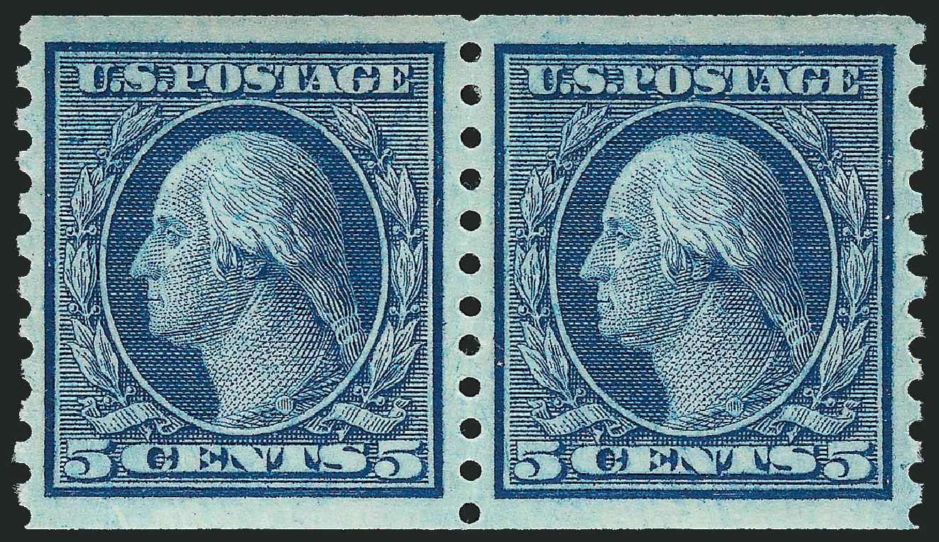Price of US Stamps Scott Cat. # 458 - 5c 1915 Washington Coil Perf 10 Vertically. Robert Siegel Auction Galleries, Mar 2014, Sale 1067, Lot 1545