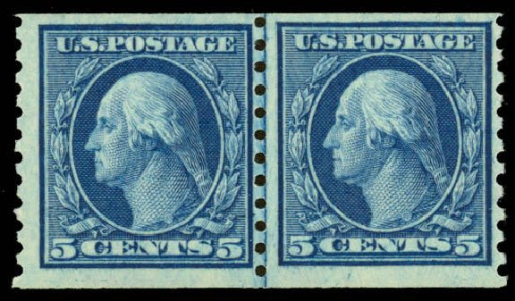 Values of US Stamps Scott Catalog #458: 1915 5c Washington Coil Perf 10 Vertically. Daniel Kelleher Auctions, May 2014, Sale 652, Lot 672