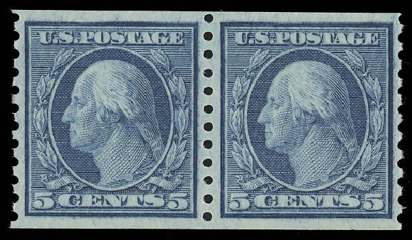 US Stamps Prices Scott Catalogue # 458 - 1915 5c Washington Coil Perf 10 Vertically. Daniel Kelleher Auctions, Aug 2015, Sale 672, Lot 2742