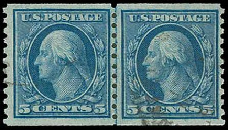 Values of US Stamps Scott Cat. 458 - 5c 1915 Washington Coil Perf 10 Vertically. H.R. Harmer, Nov 2013, Sale 3004, Lot 1273