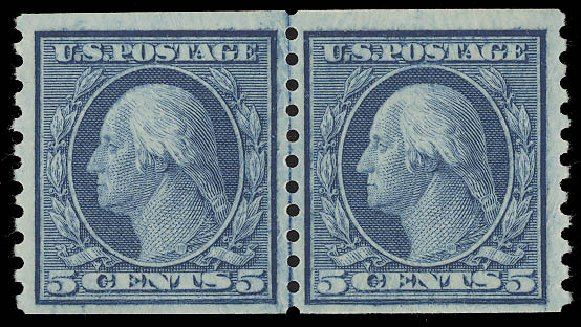 US Stamps Price Scott Catalog 458: 5c 1915 Washington Coil Perf 10 Vertically. Daniel Kelleher Auctions, Aug 2015, Sale 672, Lot 2743
