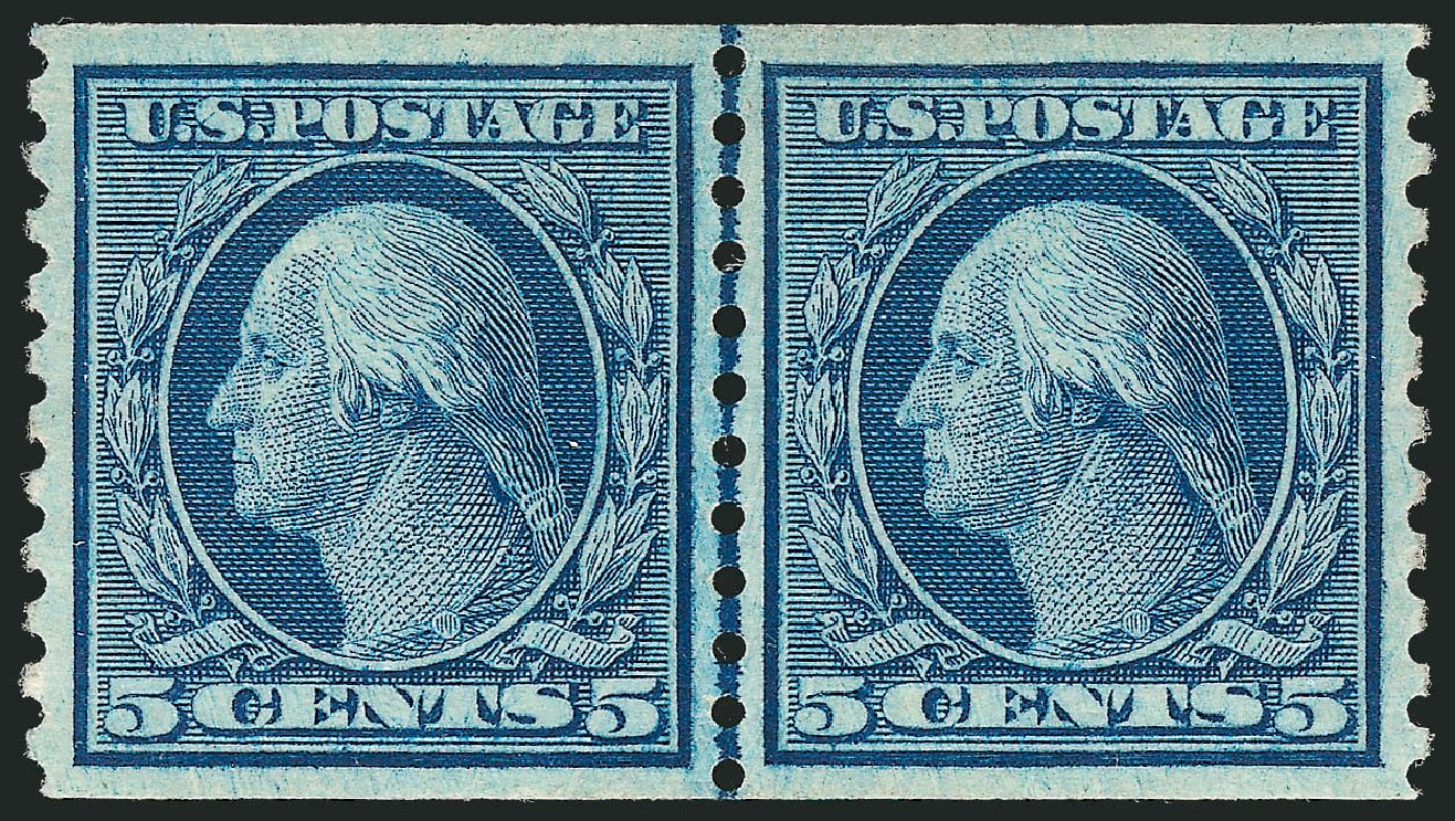 US Stamps Values Scott Catalog # 458: 5c 1915 Washington Coil Perf 10 Vertically. Robert Siegel Auction Galleries, Jul 2013, Sale 1050, Lot 573