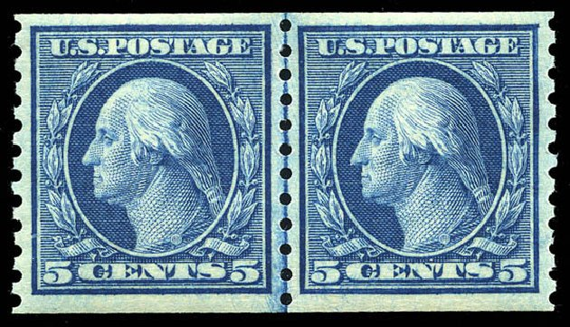 US Stamp Value Scott Catalog # 458 - 5c 1915 Washington Coil Perf 10 Vertically. Matthew Bennett International, May 2014, Sale 350, Lot 606