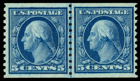 Costs of US Stamp Scott #458 - 1915 5c Washington Coil Perf 10 Vertically. Daniel Kelleher Auctions, Sep 2013, Sale 639, Lot 1176