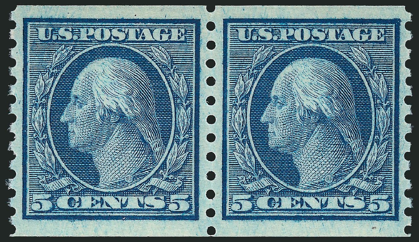 US Stamps Values Scott Cat. 458 - 1915 5c Washington Coil Perf 10 Vertically. Robert Siegel Auction Galleries, Dec 2013, Sale 1062, Lot 656