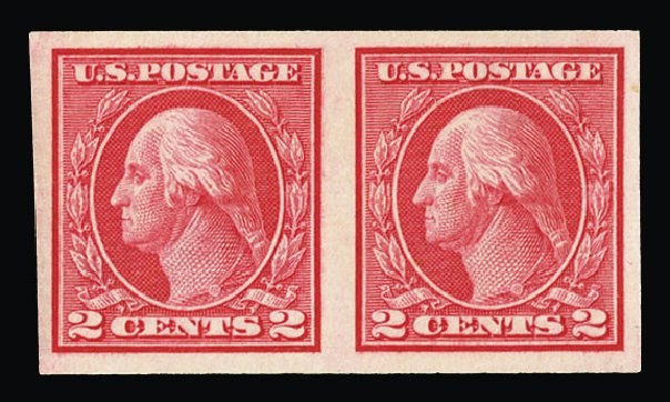 Value of US Stamp Scott Catalog #459 - 1914 2c Washington Coil Imperf. Cherrystone Auctions, Jul 2015, Sale 201507, Lot 2159