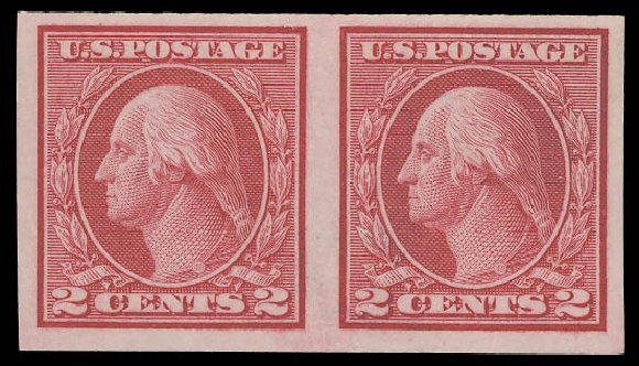 US Stamps Value Scott 459: 1914 2c Washington Coil Imperf. Daniel Kelleher Auctions, Aug 2015, Sale 672, Lot 2746