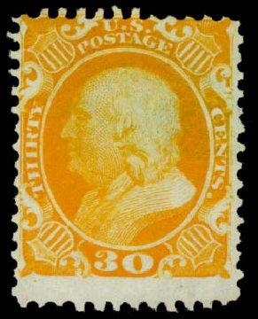 US Stamps Values Scott Catalog # 46: 1875 30c Franklin Reprint. Daniel Kelleher Auctions, May 2014, Sale 652, Lot 137