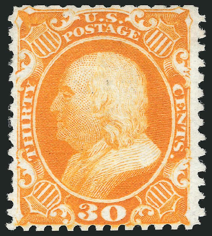 Price of US Stamp Scott Catalogue #46: 1875 30c Franklin Reprint. Robert Siegel Auction Galleries, Oct 2014, Sale 1082, Lot 367