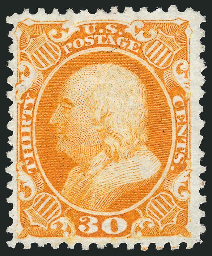 US Stamps Prices Scott Catalog # 46 - 30c 1875 Franklin Reprint. Robert Siegel Auction Galleries, Dec 2014, Sale 1090, Lot 1187