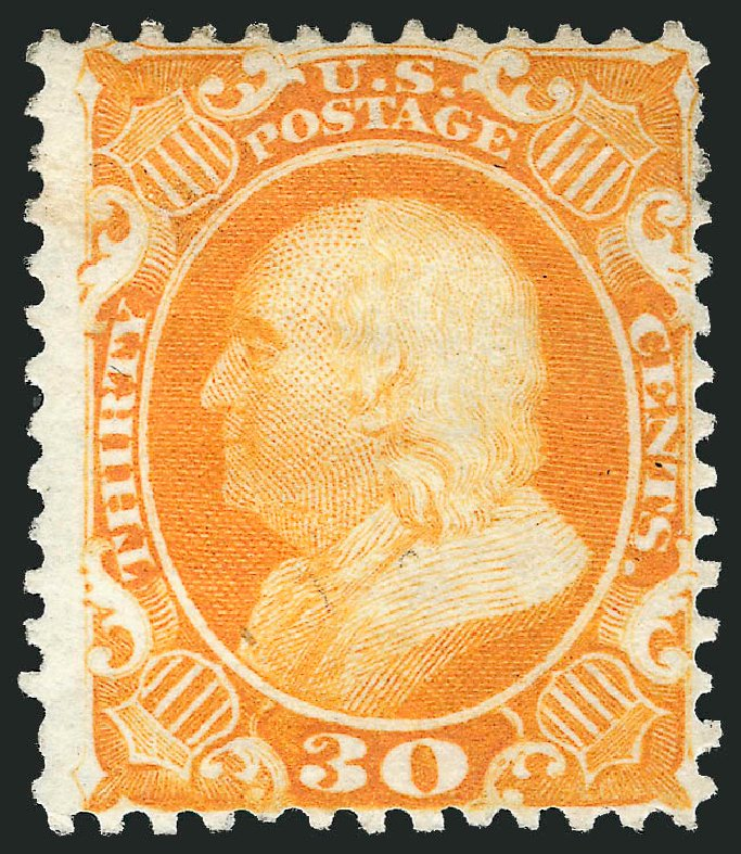US Stamp Value Scott 46 - 30c 1875 Franklin Reprint. Robert Siegel Auction Galleries, Feb 2015, Sale 1092, Lot 1047