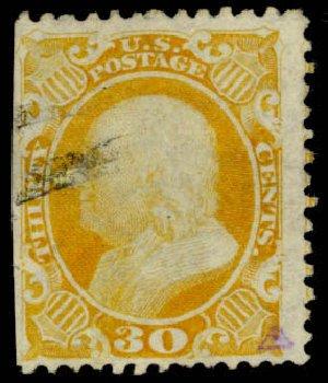 Prices of US Stamp Scott Catalogue # 46: 1875 30c Franklin Reprint. Daniel Kelleher Auctions, Apr 2013, Sale 636, Lot 89