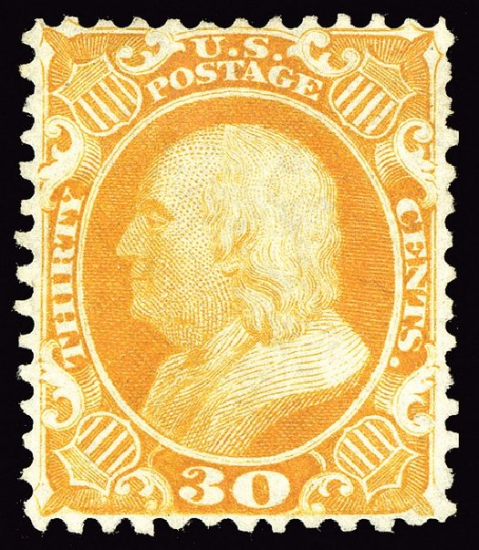 Values of US Stamp Scott 46 - 1875 30c Franklin Reprint. Spink Shreves Galleries, May 2014, Sale 148, Lot 69